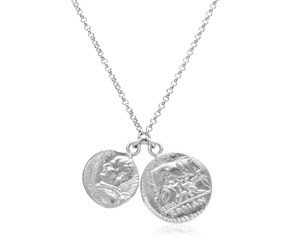 Sterling Silver 20 inch Necklace with Two Roman Coins