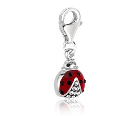 Ladybug White Tone Crystal Accented Charm in Sterling Silver