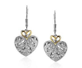 Filigree Heart Earrings with Diamonds in Sterling Silver and 14K Yellow Gold
