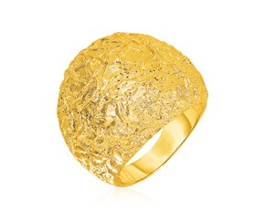 Textured Dome Ring with Yellow Finish in Sterling Silver