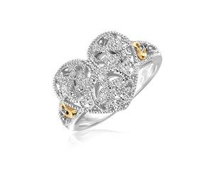 a06f1a3475c Filigree Heart Ring with Diamonds in Sterling Silver and 14k Yellow Gold