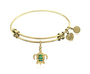 Expandable Yellow Tone Brass Bangle with Turtle Symbol with Opal