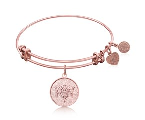 Expandable Pink Tone Brass Bangle with Registered Nurse Care Compassion Symbol