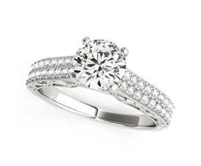14k White Gold Pronged Round Diamond Antique Style Engagement Ring (1 1/3 cttw)
