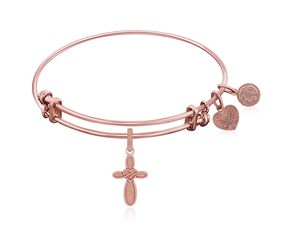 Expandable Pink Tone Brass Bangle with Cross with Heart Symbol
