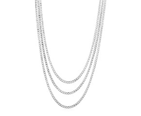 Sterling Silver Three Strand Polished Link Necklace