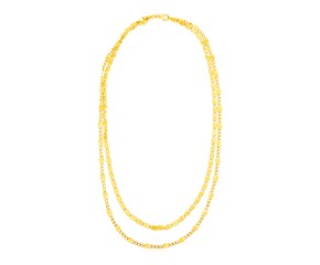 14K Yellow Gold  Two Strand Necklace with Polished Oval Links