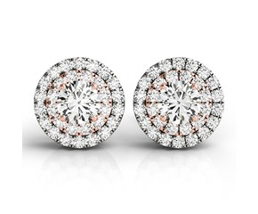 Halo Style Diamond Earrings in 14k White and Rose Gold (3/4 cttw)