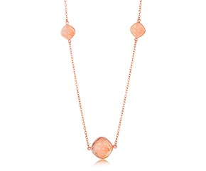 Cushion Raspberry Rutilated Quartz Station Necklace in Rose Gold Plated Sterling Silver