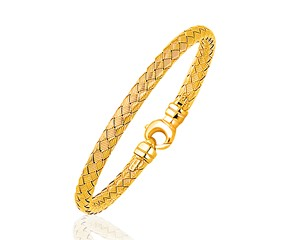 Fancy Weave Bangle in 14k Yellow Gold (5.0mm)