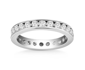Channel Set Round Diamond Eternity Ring in 14k White Gold