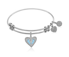 Expandable White Tone Brass Bangle with Blue Enamel Baby Foot Print Symbol