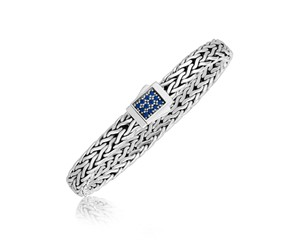 Braided Blue Sapphire Accented Men's Bracelet in Sterling Silver
