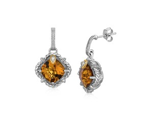 Cushion Whisky Quartz and Diamond Accented Rope Style Earrings in 18k Yellow Gold and Sterling Silver