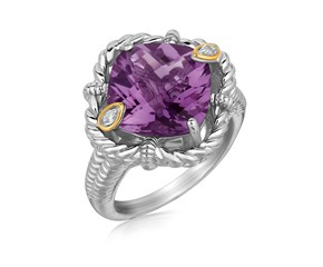 Cushion Amethyst and Diamond Accented Rope Motif Ring in 18K Yellow Gold and Sterling Silver