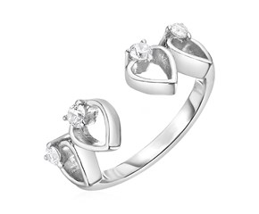 Toe Ring with Hearts in Sterling Silver with Cubic Zirconia