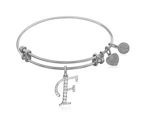 Expandable White Tone Brass Bangle with F Symbol with Cubic Zirconia