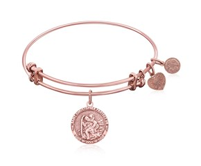Expandable Pink Tone Brass Bangle with St. Christopher Protection Symbol