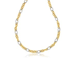 Cable Motif and Round Link Necklace in 14k Two-Tone Gold