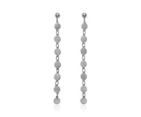 14k White Gold Post Dangle Earrings with Polished Circles