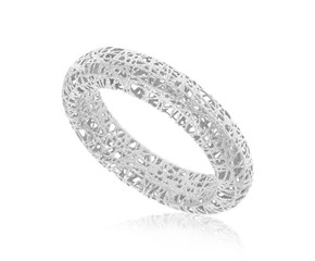 Fancy Tube Motif Mesh Wire Ring in 14k White Gold