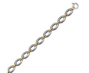 Cable Style Chain Necklace in 18k Yellow Gold and Sterling Silver