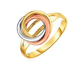 14k Tri Color Gold Ring with Interlocking Circles