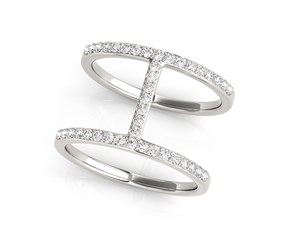 Thin Dual Band Diamond Ring in 14k White Gold (3/8 cttw)