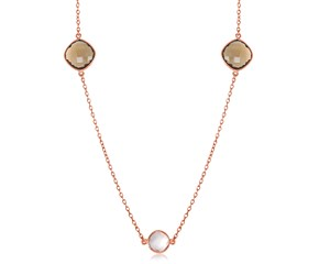 Round and Cushion Station Necklace with Smokey Quartz and Pink Amethyst Stones in Rose Gold Plated Sterling Silver