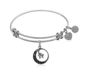 Expandable White Tone Brass Bangle with Love You To The Moon and Back Symbol