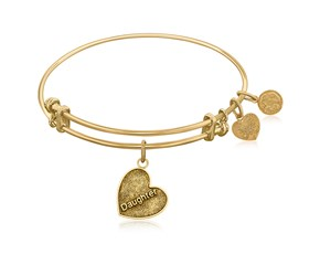 Expandable Yellow Tone Brass Bangle with Daughter Special Love Symbol