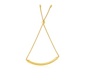 14k Yellow Gold Lariat Bracelet with Polished Curved Bar