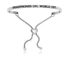 Stainless Steel Headphones On World Off Adjustable Bracelet