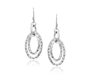 Dual Open Oval Shape Textured Earrings in Sterling Silver