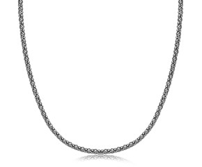 Thin Popcorn Style Pendant Chain in Rhodium Plated Sterling Silver