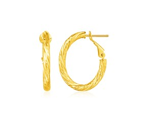 14k Yellow Gold Petite Twisted Oval Hoop Earrings