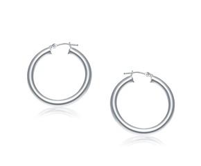 Classic Hoop Earrings in 14k White Gold (30mm Diameter) (4.0mm)