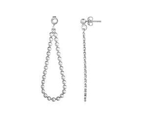 Polished Teardrop Ball Chain Earrings in Sterling Silver