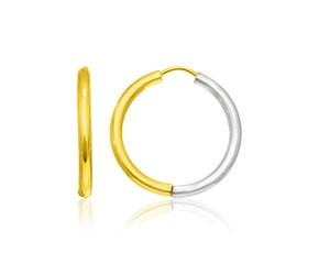 Hinge Style Hoop Earrings in 14k Two-Tone Gold