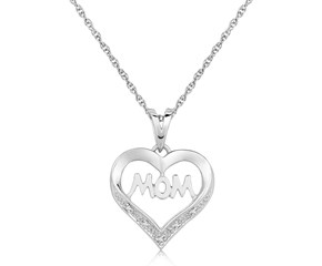 Diamond Embellished MOM Heart Pendant in Sterling Silver (.01 cttw)